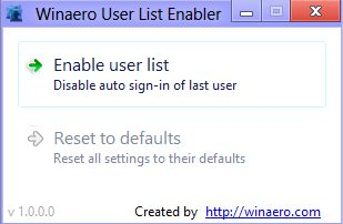 User List Enabler for Windows8